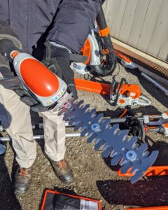 Here is the hedge shear attachment with double-sided cutting blades that cut both directions - so light and handy, I can't wait to see how it works on the hedges in front of my Winter House.