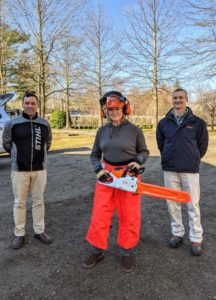 """Here I am all """"suited-up"""" in my STIHL chaps, helmet, and gloves, ready to work. It was so nice to learn about all the STIHL tools from Brian and John. These will work great on all our many projects here at the farm."""
