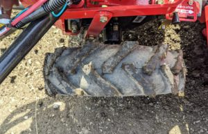 The tires on this tiller are 16-inch agricultural tires. The tires have great tread to move through the upturned soil.