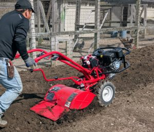 All Troy-Bilt tillers have full-sided tine shields for operator protection.