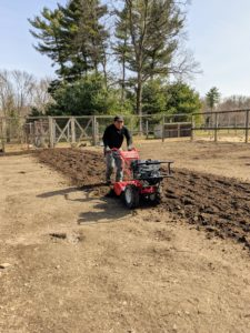 As he moves, Phurba makes sure to overlap his passes slightly, so every bit of soil is covered. Tilling also helps to level the ground as it turns over the soil.