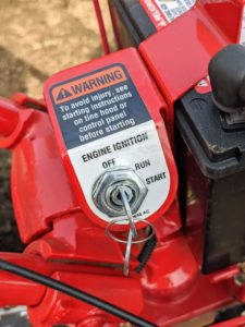 It has a standard electric start for the easiest starting, and everything is well-labeled with instructions and warnings.