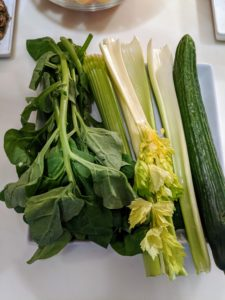 I like to add fresh greens, such as celery and cucumber. Celery reduces inflammation, supports digestion, and is rich in vitamins A, C, K, and potassium. Cucumber is high in nutrients, but it's also very hydrating.