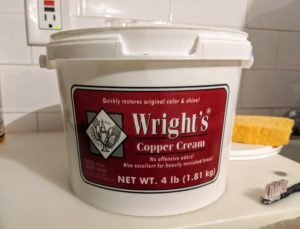 Experts recommend using a good-quality, non-abrasive commercial copper polish. I've been using Wright's metal creams for years. Wright's Copper Cream is a gentle formula that cleans and shines - it's also great for brass.