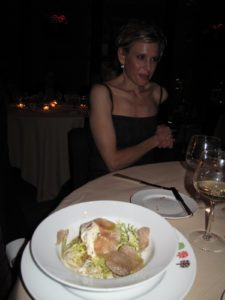 A crab meat salad with shavings of white truffle - it was very good, I was told.