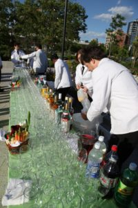 Setting up the outdoor bar in The Hudson River Park