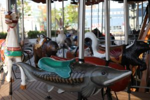 The animals of the carousel include 33 wooden figures, many native to the Hudson River Valley.