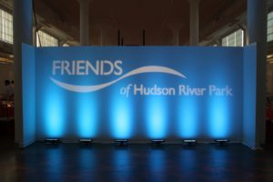 Friends of the Hudson River Park's logo greeted guests as they arrived for the dinner and program.