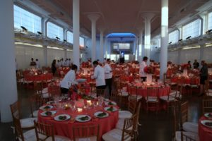 The clerestory was set up to accommodate the 500 guests.
