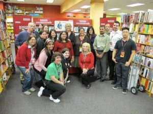 Posing with the very gracious staff of Borders in Syosset