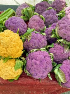 On the last day, we visited the Gardens GreenMarket on North Military Trail in Palm Beach Gardens. Colored Cauliflower is available in purple, orange, and green varieties. Although it may look different than the popular white cauliflower, the taste is just the same - mild, sweet and nutty. The orange and purple cauliflower are higher in antioxidants than regular white cauliflower.