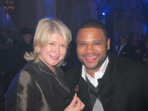 Here I am with Anthony Anderson - actor - who was a guest on my television show.  We made beautiful stone planters together.  I'm eating a delicious grape popsicle.