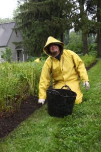 Wilmer clad in his rain gear