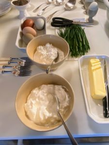 Here are all the toppings - butter, sour cream, cottage cheese, chives picked from my greenhouse just moments before the show, and eggs.