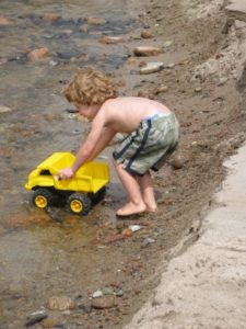 A little boy played with his truck - he reminded me of my nephew, Charlie, when he was small.