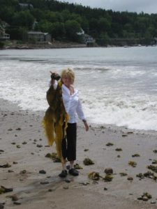 Holding up another monstrous growth of kelp