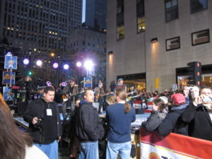 Bon Jovi - NBC's artist in residence - were performing on Rockefeller Plaza.