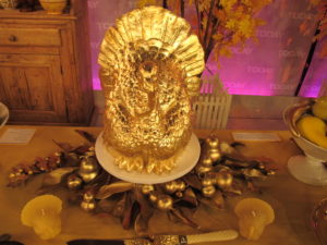 A gorgeous gilded turkey centerpiece