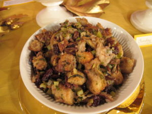 The stuffing that I demonstrated is made with white bread, pecans, and dried cherries.