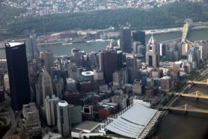 The Pittsburgh skyline - this downtown triangular area is surrounded by the Allegheny and Monongahela rivers.