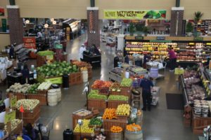 A view of the produce area from above