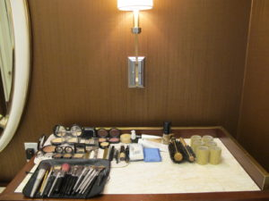 Mary Curren's 'art' supplies all laid out