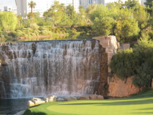 This is the waterfall behind the 18th green.
