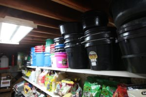 Buckets, tubs, and feeders of all sizes.
