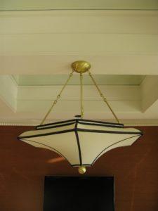 A detail shot of a hanging light fixture