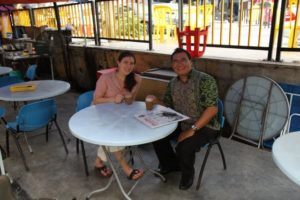 Sophie and Najib - our guide - enjoying the teh tarik