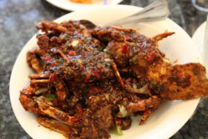 My favorite dish in all of Malaysia - honey pepper crab with chilis.  Mud crabs are fried, then simmered with the chili sauce.  The crabs and their shells are unbelievably good and worth the drive to Melaka.