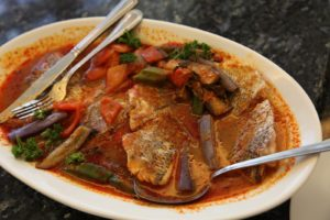 The fish curry used a delicate snapper-like fish with eggplant and peppers.
