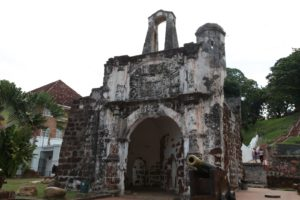 This historic building is a fort that was part of A Famosa, built in the 16th century by the Portuguese.  This section is one of the oldest foreign constructed pieces of architecture in SE Asia.