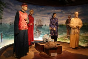 This diorama shows examples of Chinese traders - the mannequins are not of the period.