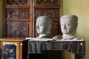 Stone Buddha heads