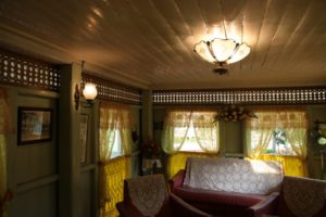 Gingerbread woodwork adorns the interior.