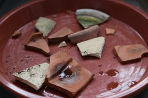 These broken pot shards are good to cover the bottom drain holes of the pots.