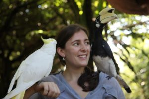 The cockatoo and hornbill really took to Sophie.