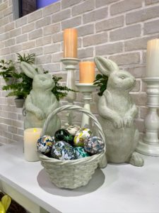 The bunnies look great on the mantel or lined up on a table. On Easter Sunday, I have bunnies all over my home.