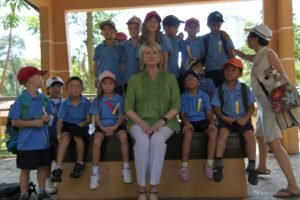 Here I am posing with children from the International School in Kuala Lumpur.  They had a field trip to the Bird Park.