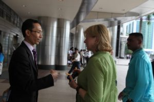 Here I am speaking with Mr. Safful Bahari Din, an executive at the Petronas Towers.  He kindly gave us a tour.