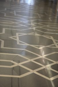 A beautiful Islamic pattern on this tile floor