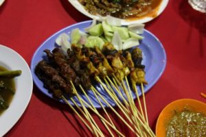 Delicious beef and chicken satay