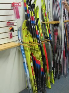 You'll find a large assortment of skis inside the center.