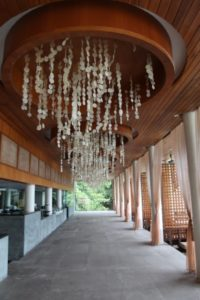 After a short walk from the heli pad, we walked into this beautiful airy restaurant at the resort.  The chandeliers are made from delicate shells.