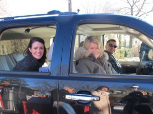 Here I am driving up with Nicole Sutliff - Susan Magrino Agency and Rock - my driver.