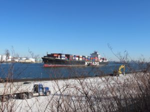 One of the many many barges that pass by Staten Island - in and out of New York Harbor