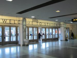 The Staten Island Ferry crosses New York Harbor between Staten Island and Manhattan.  It is a non-vehicular 5 mile, 25 minute ride with majestic views of the Harbor - and it's free!