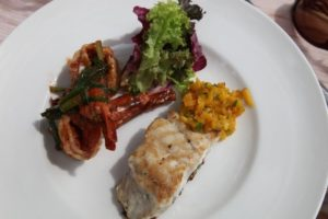 Red snapper with mango chutney and prawns