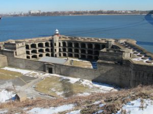 Battery Weed is a substantial three-tiered 19th century fortification guarding the Narrows - part or Fort Wadsworth - this abandoned military fort stands beneath the bridge.